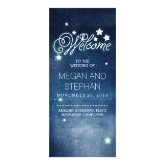 Night Stars Romantic Navy Wedding Programs Rack Card