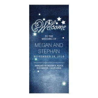 Night Stars Romantic Navy Wedding Programs Custom Rack Card