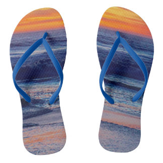 Night Sunset Beach Sandals or Your Photo Thongs
