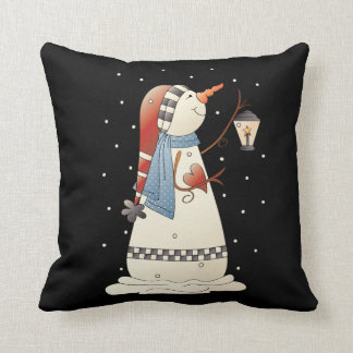 Night time Country snowman Holiday throw pillow