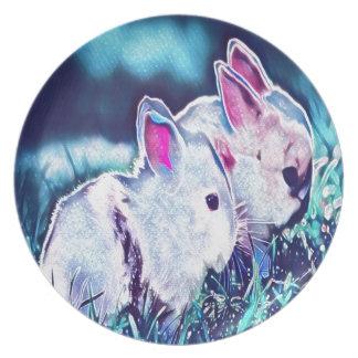 Night Time Dwarf Bunnies Plate