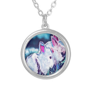 Night Time Dwarf Bunnies Silver Plated Necklace