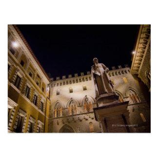 Night time in Piazza Salimbeni, Siena, Italy. Postcard