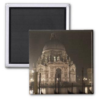 Night view across water of San Giorgio Maggiore Square Magnet