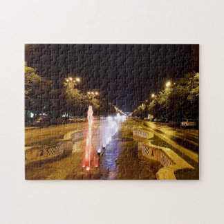 Night view at colorful fountain in Bucharest Jigsaw Puzzle