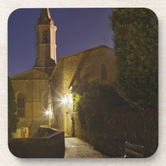 Night view of church at dusk, Pienza, Italy Drink Coasters