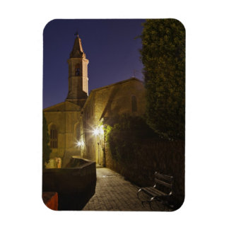 Night view of church at dusk, Pienza, Italy Magnet