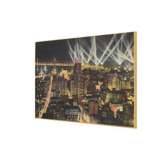 Night View of City, Bay Bridge, Searchlights Canvas Print