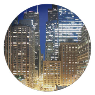 Night view of cityscape of Chicago Dinner Plates