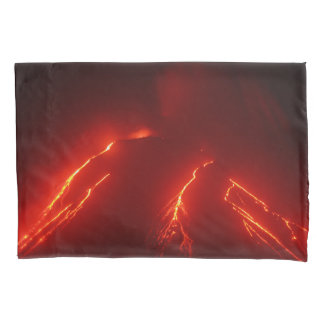 Night view of lava flows on slope of volcano pillowcase