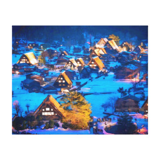 Night view of Shirakawa-go Gallery Wrap Canvas
