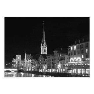 Night view of Zurich Photo Print
