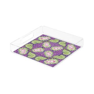 Night vine blooms acrylic tray
