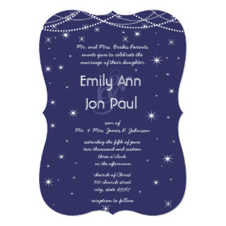Night Wedding Navy Silver Metallic Stars Garland 13 Cm X 18 Cm Invitation Card
