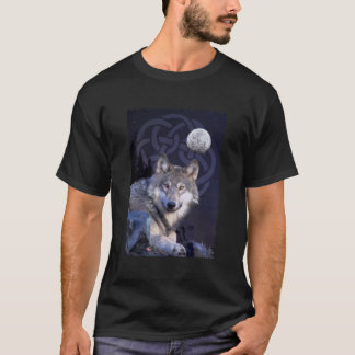 Night Wolf with Celtic Knot T-Shirt