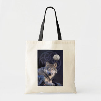 Night Wolf with Celtic Knot Tote Budget Tote Bag