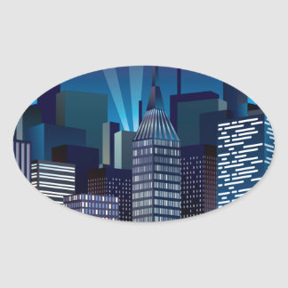 NightCityScape_VectorDTL Oval Sticker
