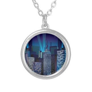 NightCityScape_VectorDTL Silver Plated Necklace