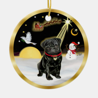 NightFlight-  Black Pug (#13) Ceramic Ornament