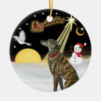 NightFlight-  Brindle Greyhound Ceramic Ornament