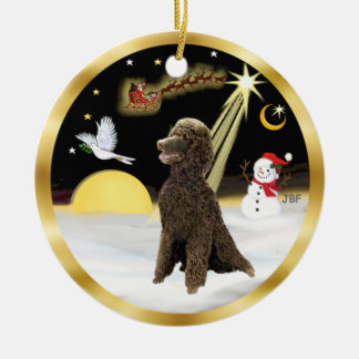 NightFlight-  Chocolate Standard Poodle Ceramic Ornament