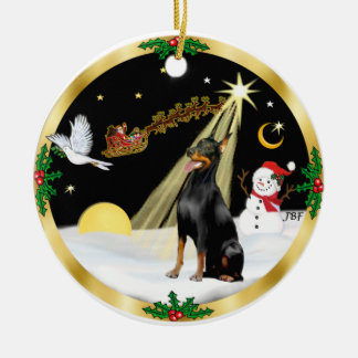 NightFlight-  Doberman Pinscher Ceramic Ornament