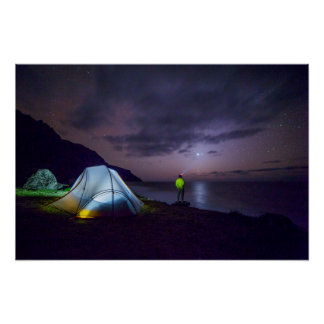 nightime wilderness camping surreal fantasy poster