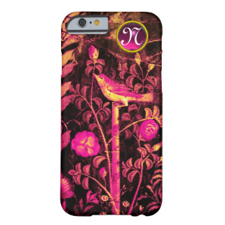NIGHTINGALE WITH ROSES MONOGRAM, Pink Black Yellow Barely There iPhone 6 Case