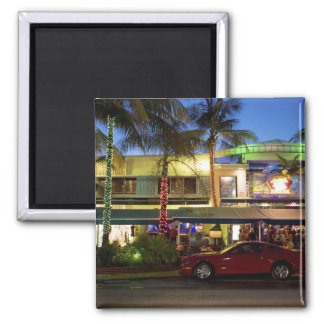Nightlife on Ocean Drive, South Beach, Miami Square Magnet