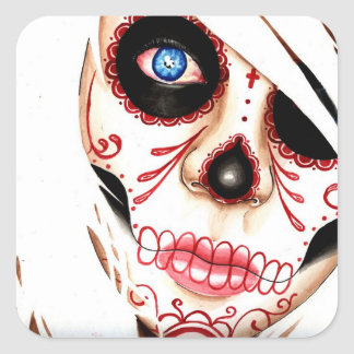 Nightmares Day of the Dead Sugar Skull Girl Square Sticker