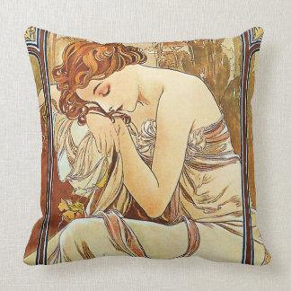 Night's Rest Vintage Nouveau by Alphonse Mucha Cushion