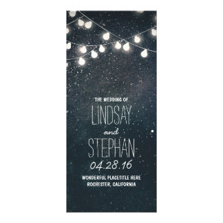Nights Stars and String Lights Wedding Programs Rack Card
