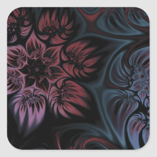 NIghtshade Fractal Flower Square Sticker