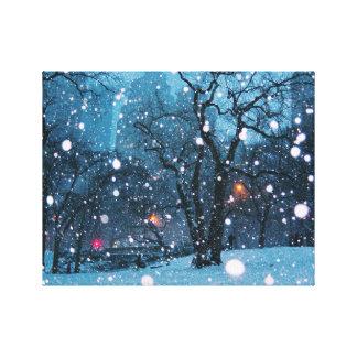 Nighttime City Snow Canvas Print