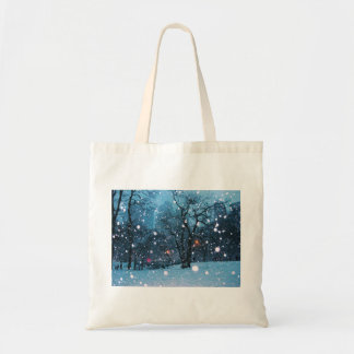 Nighttime City Snow Tote Bag