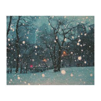 Nighttime City Snow Wood Print