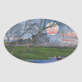 Nighttime River Scene Oval Sticker