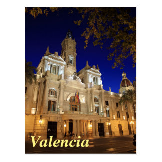 Nightview of Plaza Ayuntamiento, Valencia, Spain Postcard