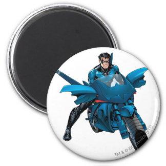 Nightwing on bike refrigerator magnet