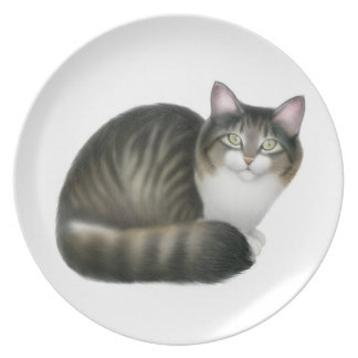 Nikey the Friendly Tabby Cat Plate