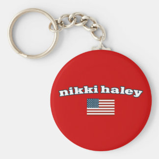 Nikki Haley American Flag Basic Round Button Key Ring