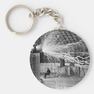 Nikola Tesla at his Colorado Springs Lab, 1899. Basic Round Button Key Ring
