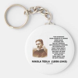 Nikola Tesla Clear Thinkers Sane To Think Clearly Keychain