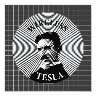 "Nikola Tesla 5.25"" Square Invitation Card"