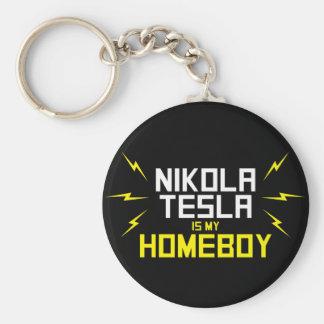 Nikola Tesla is My Homeboy Basic Round Button Key Ring