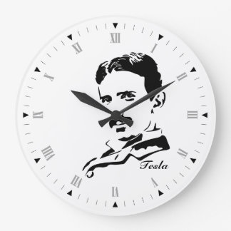 Nikola Tesla Large Clock