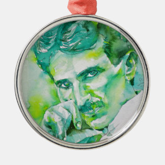 nikola tesla - watercolor portrait.2 metal ornament