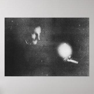 Nikola Tesla with phosphorescent bulb, 1894 Poster