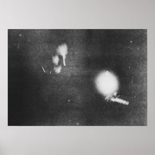 Nikola Tesla with phosphorescent bulb, 1894 Posters