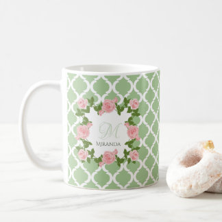 Nile Green Quatrefoil Pink Rose Monogram With Name Coffee Mug